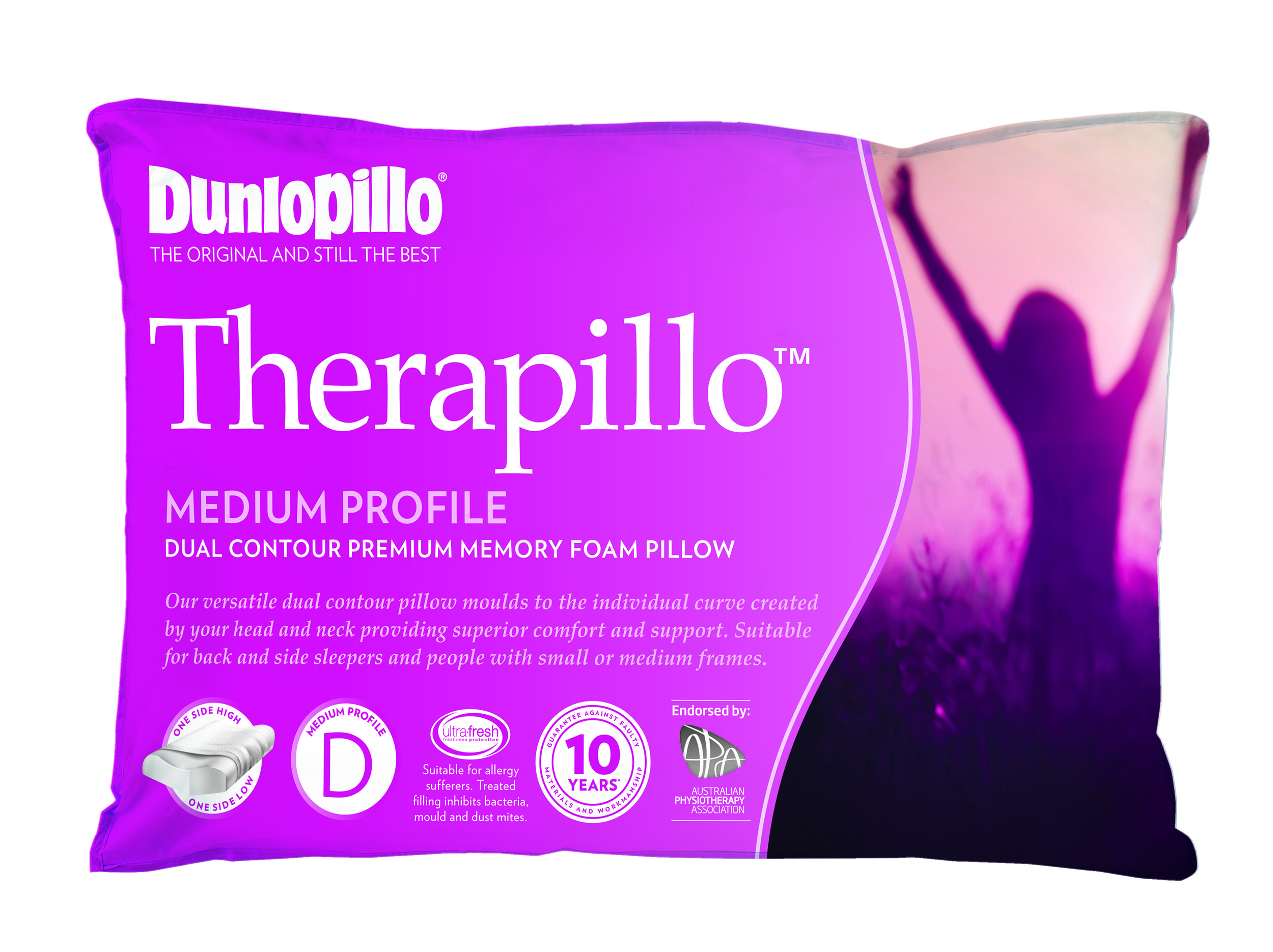 Therapillo Premium Memory Foam Medium Profile Dual Contour Pillow