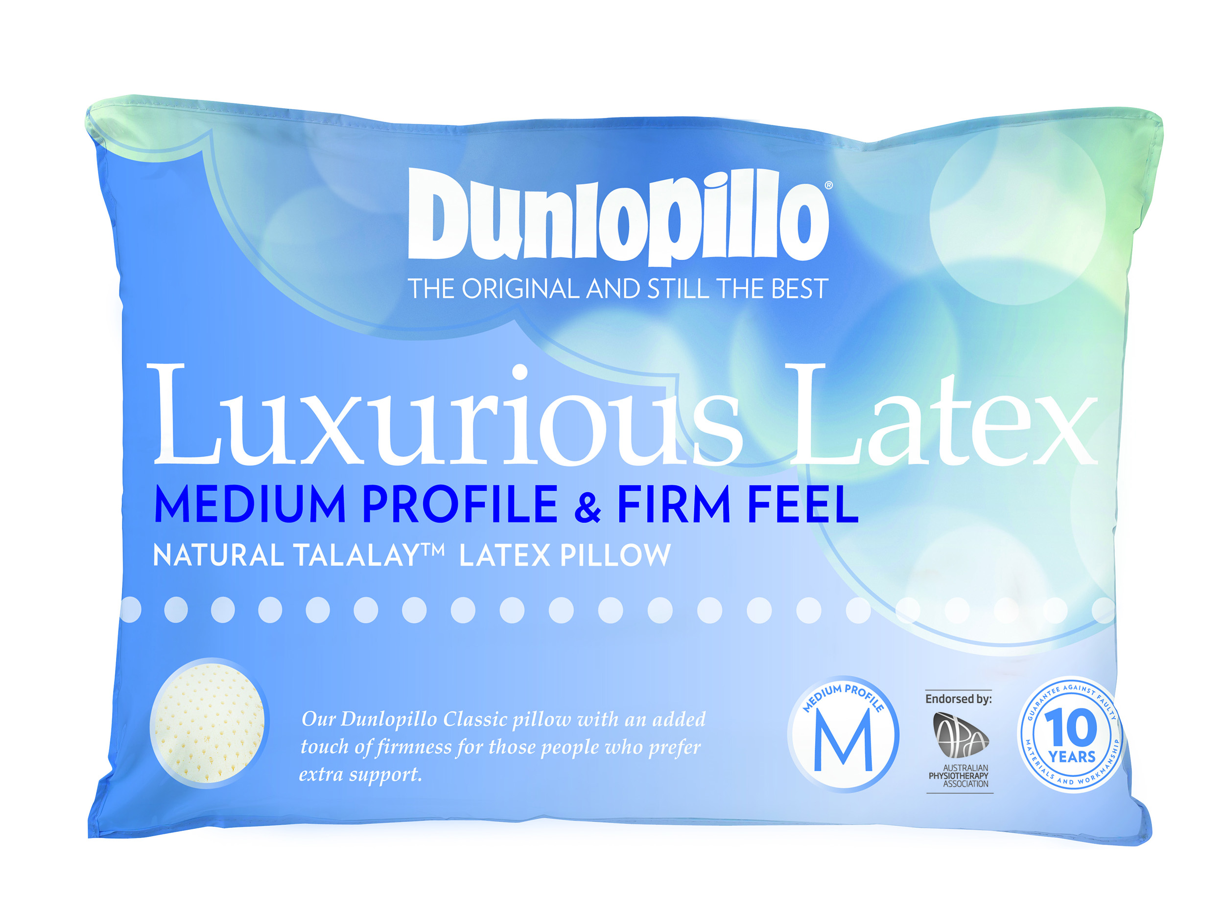 Dunlopillo Luxurious Latex Medium Profile Firm Feel Pillow