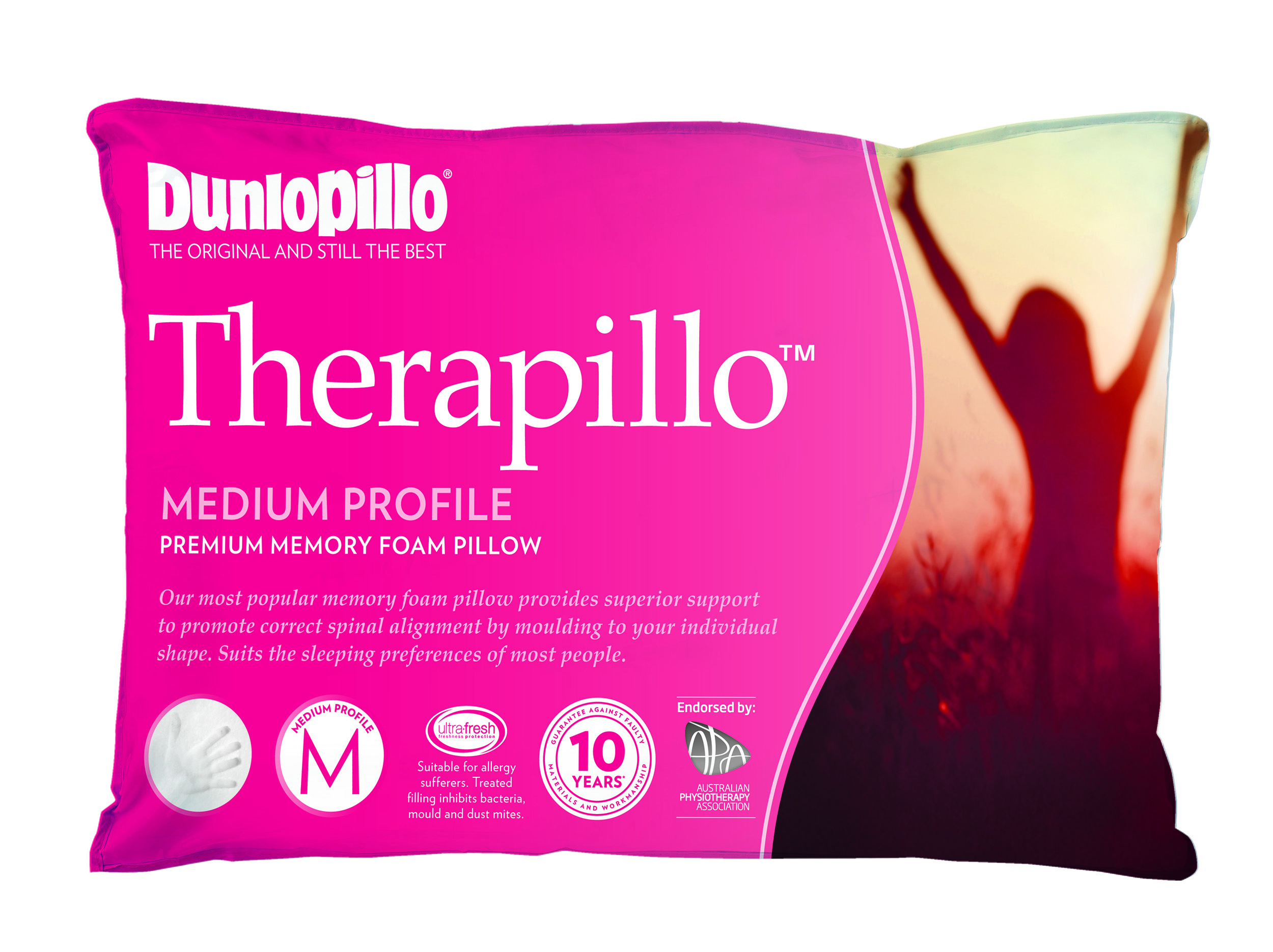 Therapillo Premium Memory Foam Medium Profile Pillow