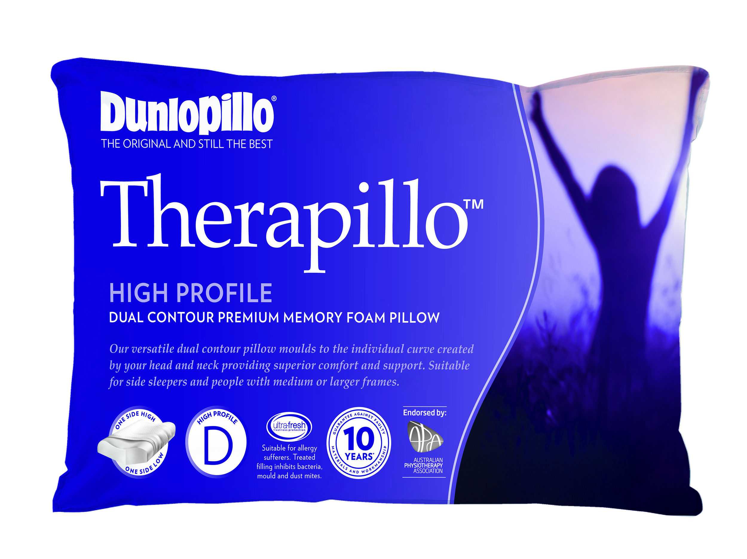 Therapillo Premium Memory Foam High Profile Dual Contour Pillow