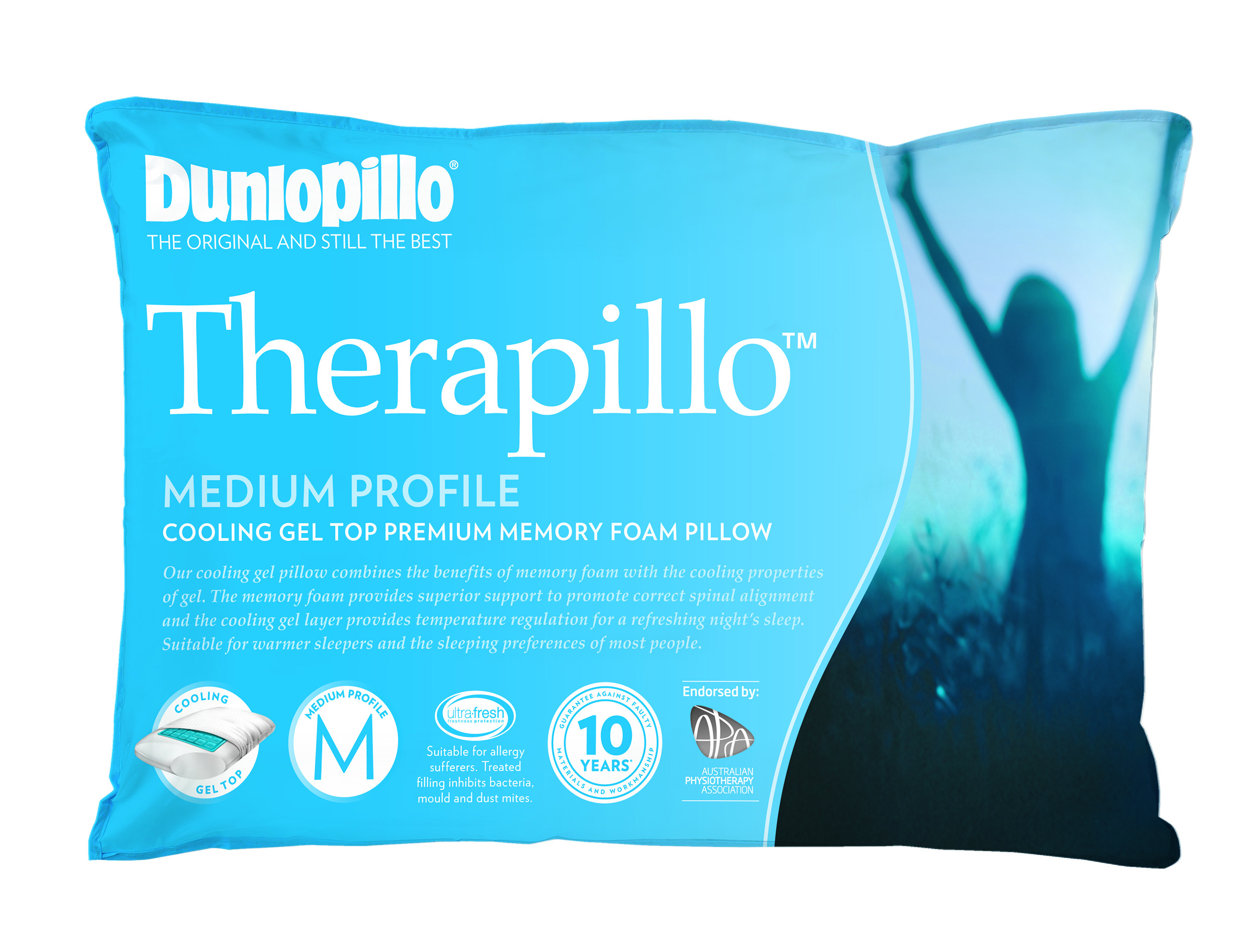 Therapillo Cooling Gel Top Premium Memory Foam Medium Profile Pillow