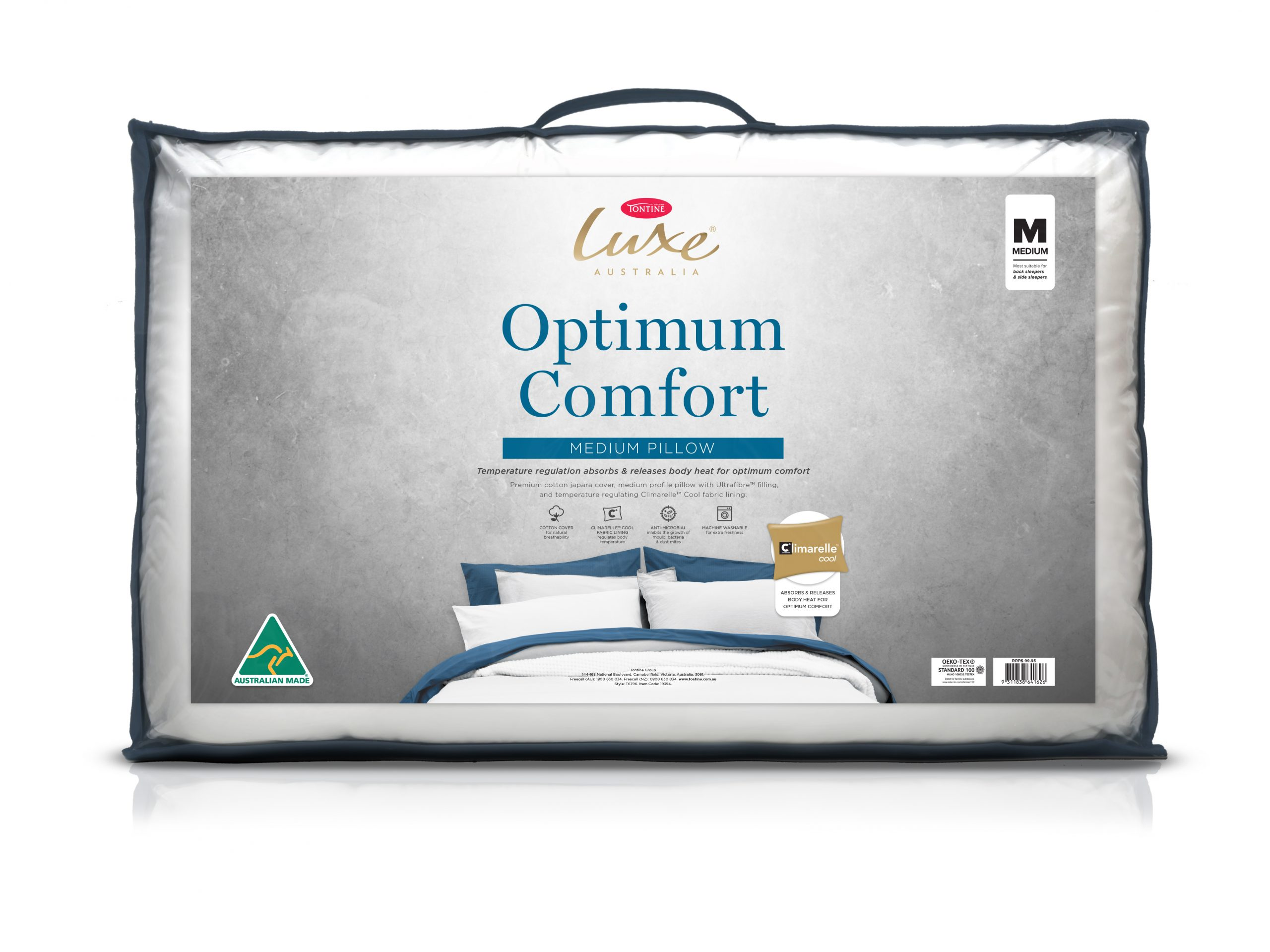 Tontine Luxe Optimum Comfort Temperature Control Medium Pillow