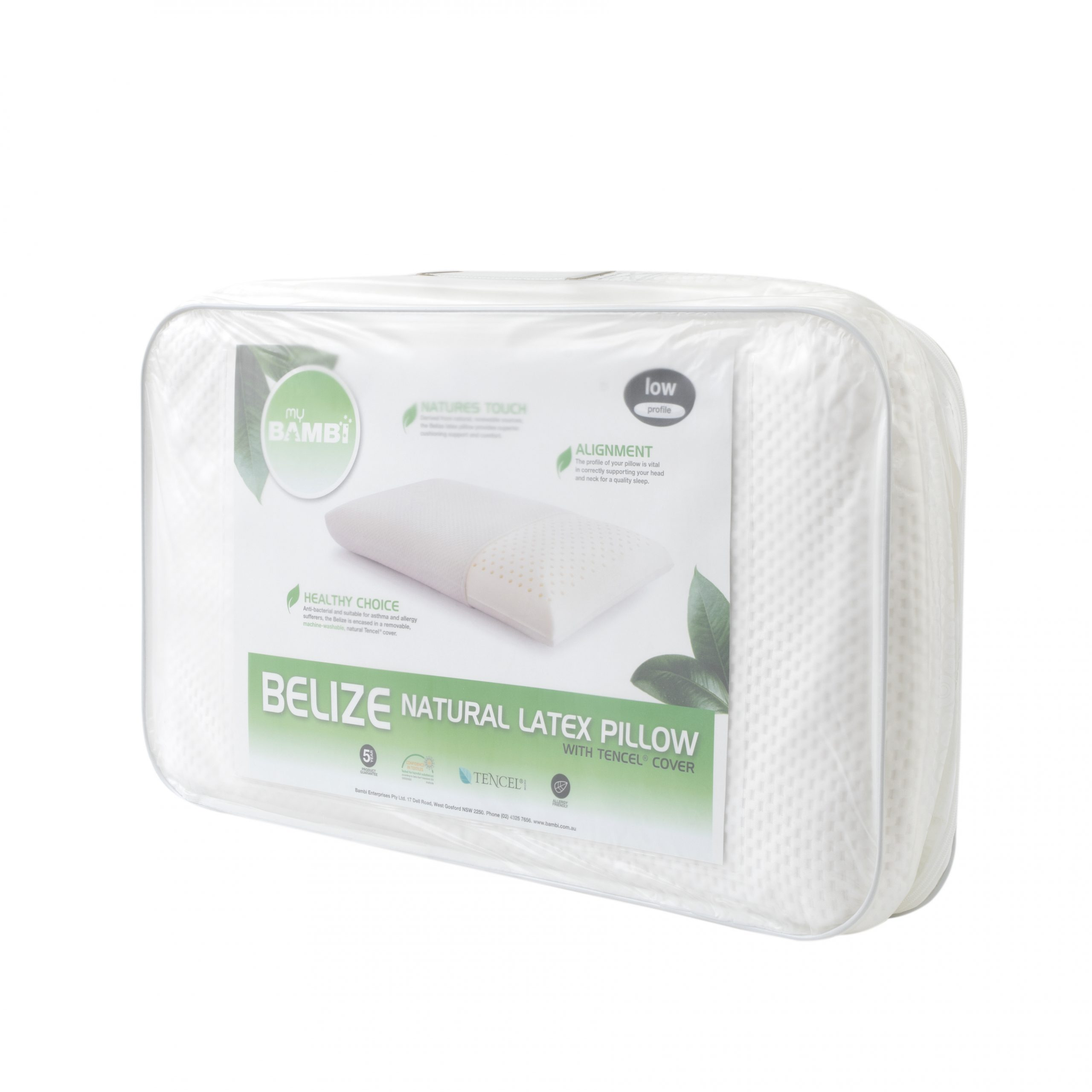 Belize Natural Latex Low Profile Pillow with Tencel Cover