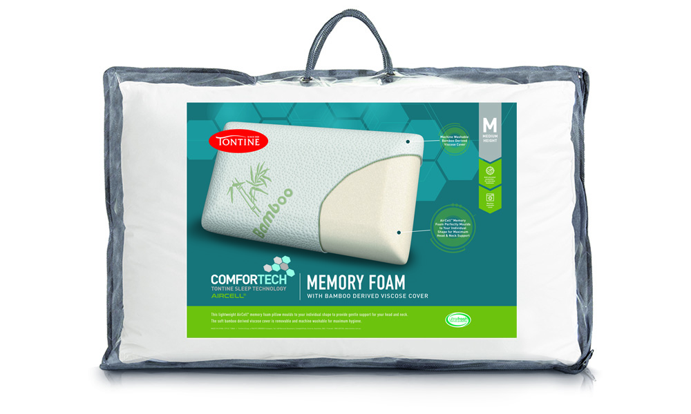 Comfortech Memory Foam Pillow with Bamboo Cover