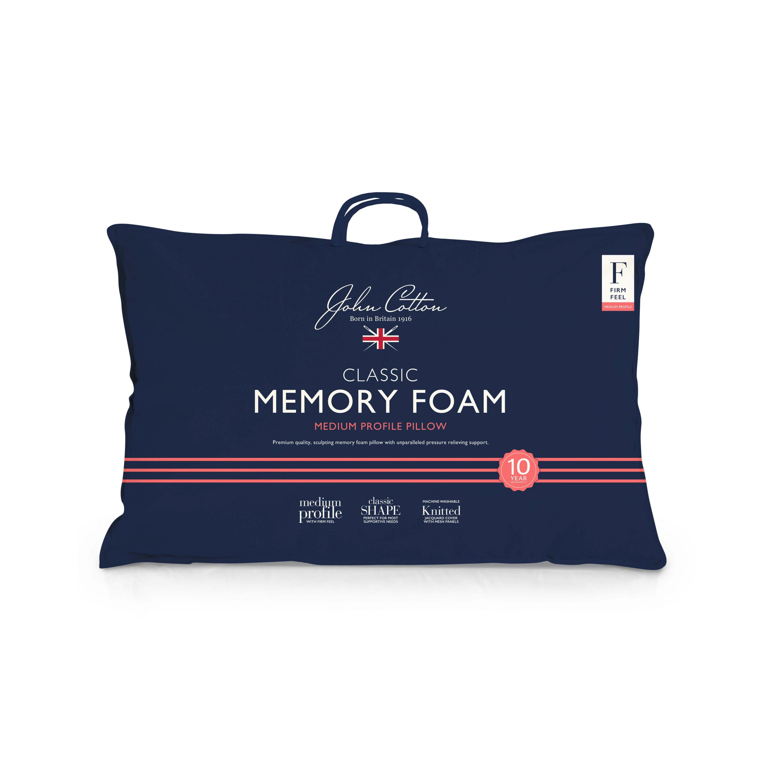 John Cotton Medium Profile Memory Foam Pillow